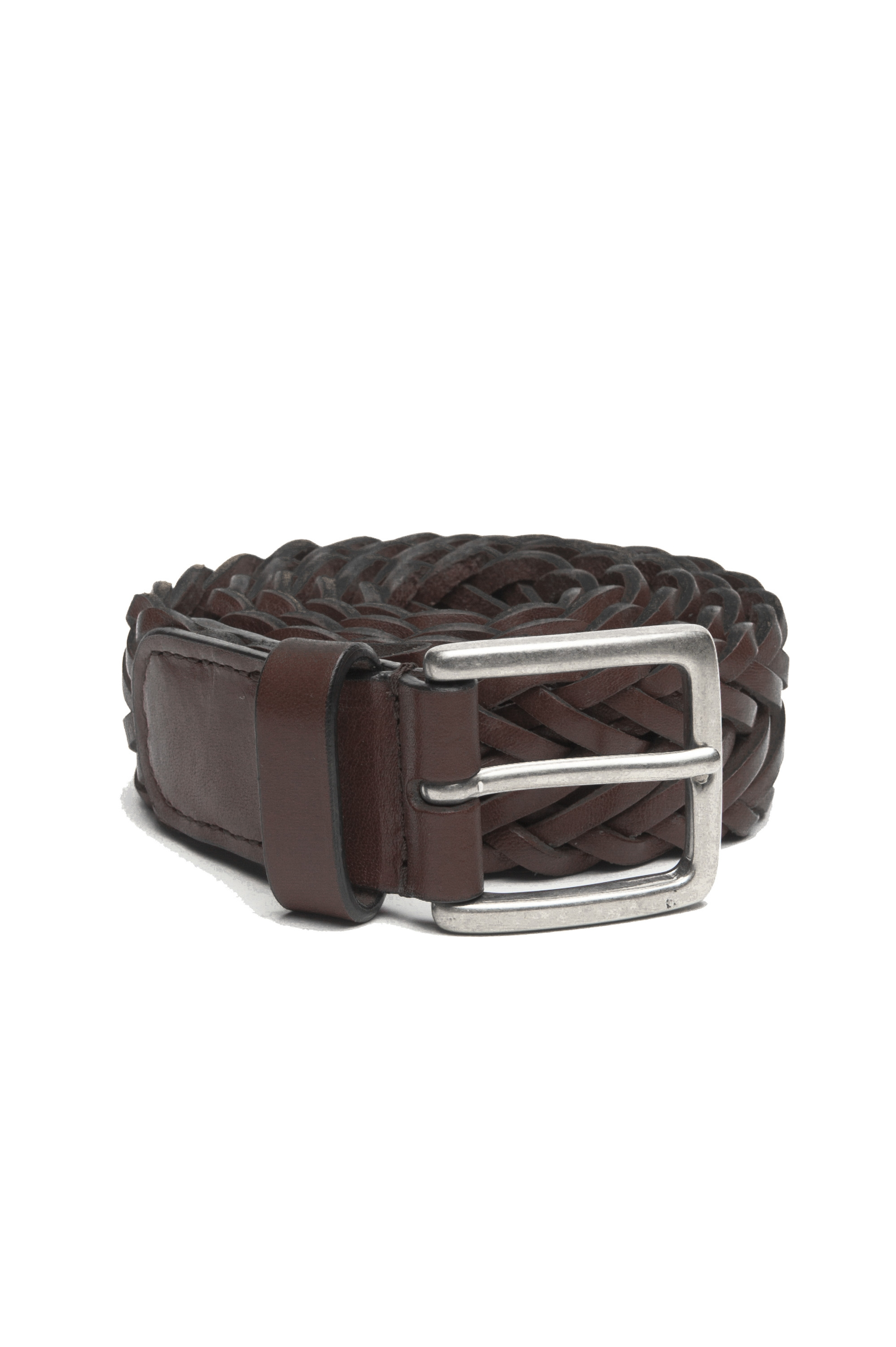 SBU 03022_2021SS Brown braided leather belt 1.4 inches  01