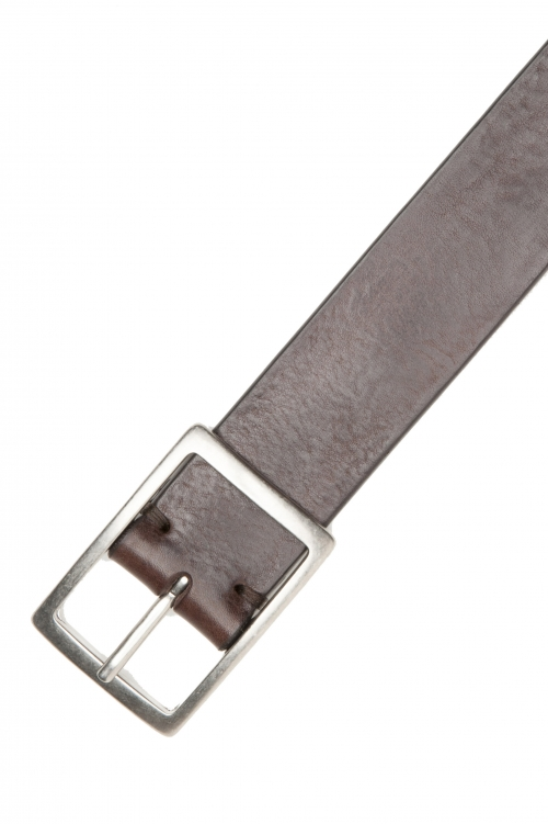 SBU 03027_2021SS Brown bullhide leather belt 1.4 inches 01