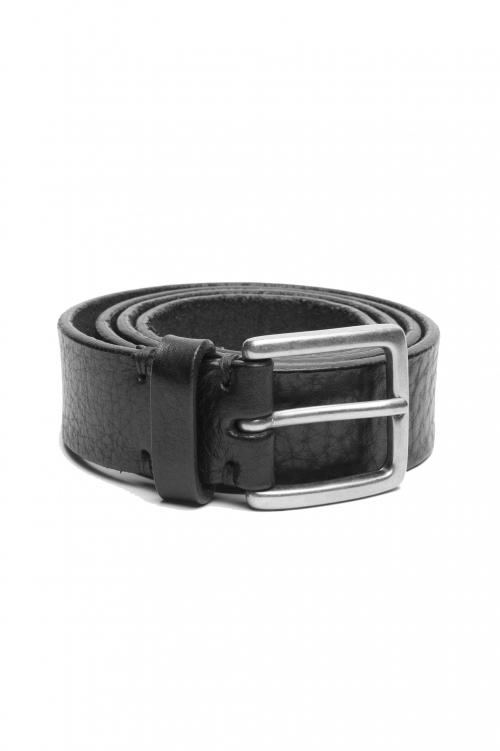 SBU 03028_2021SS Cintura in pelle di toro martellata 3 cm nera 01