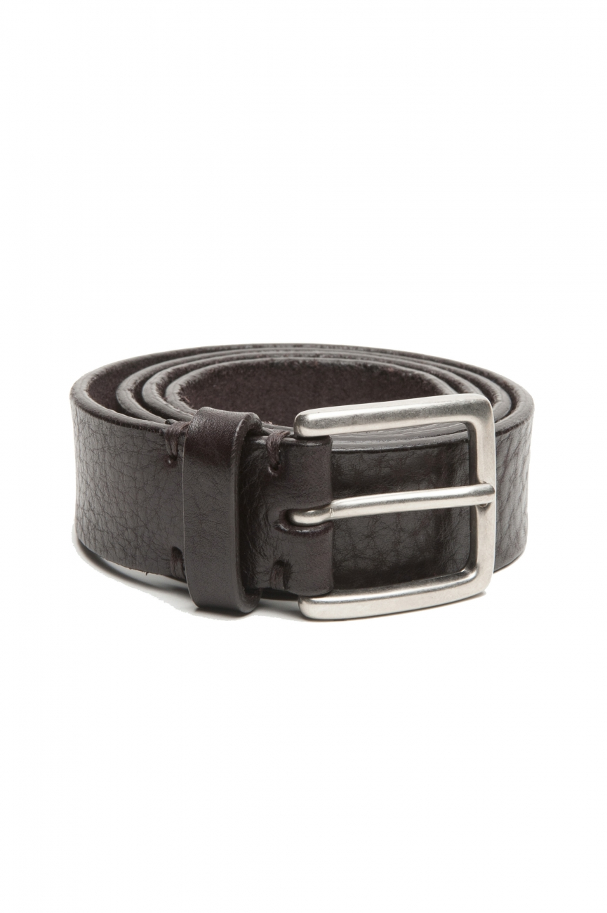 SBU 03029_2021SS Brown bullhide tumbled leather belt 1.2 inches 01