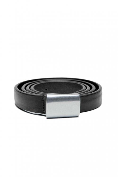 SBU 03030_2021SS Cintura militare in pelle nera 2 cm 01