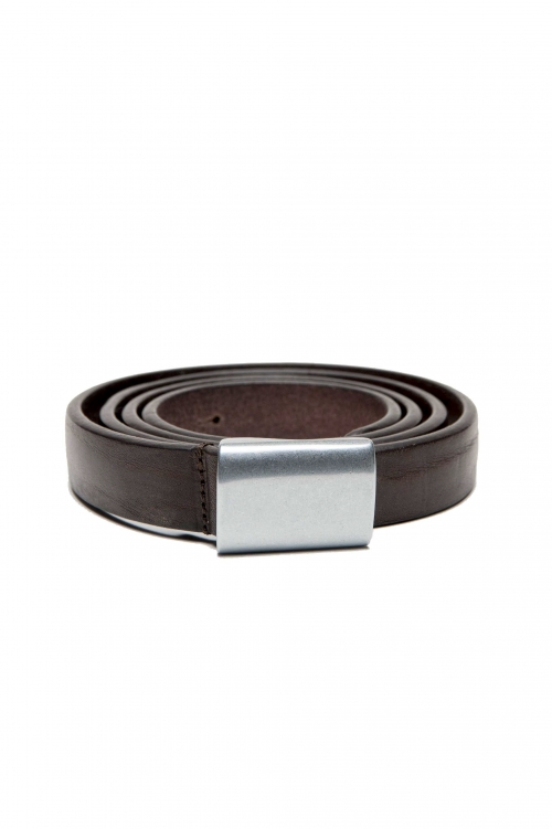 SBU 03031_2021SS Military brown leather 0.8 inches belt 01
