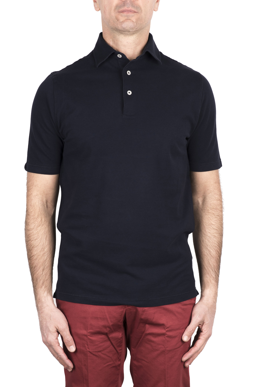 SBU 03273_2021SS Short sleeve navy blue pique polo shirt  01