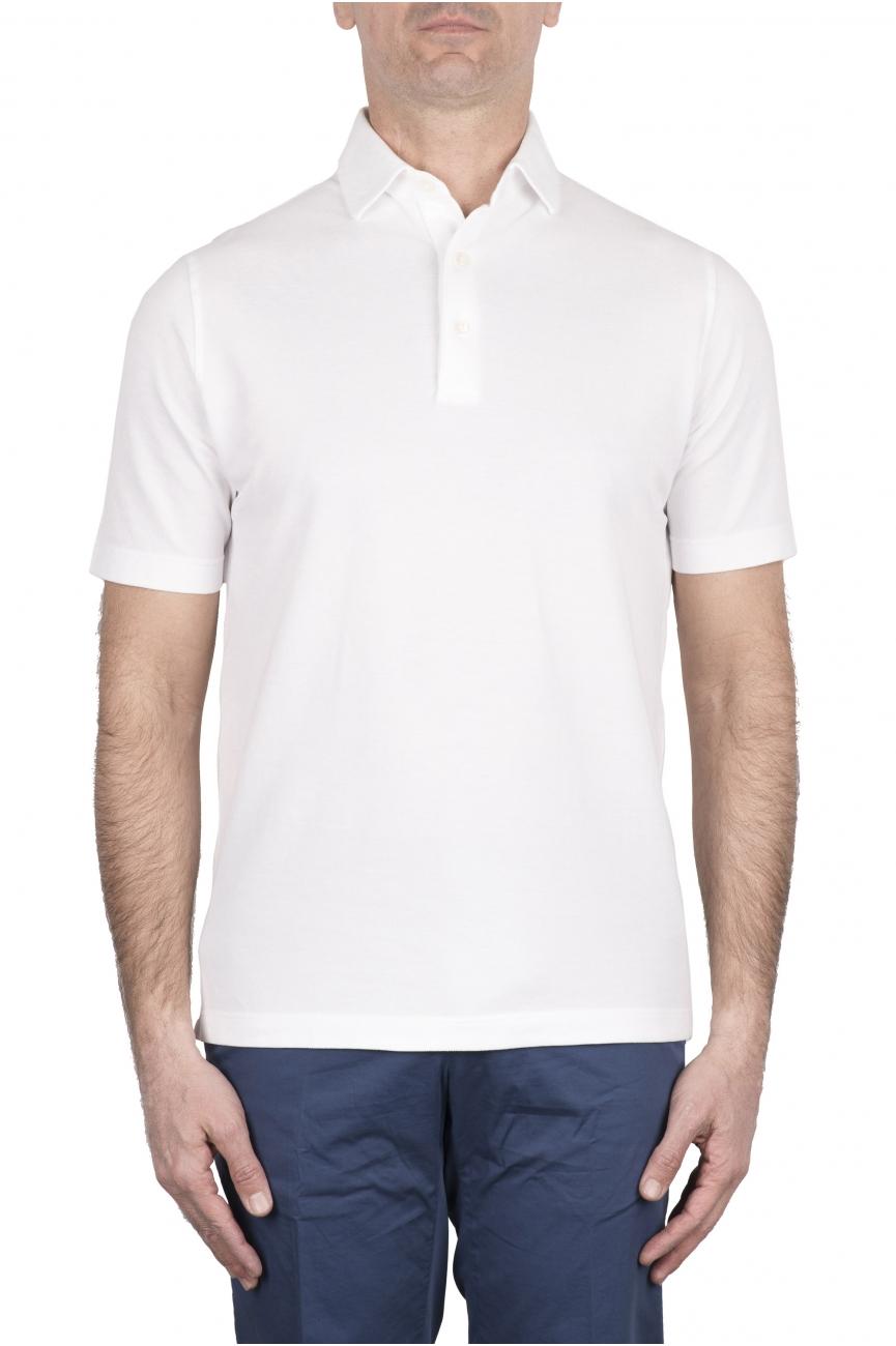 SBU 03274_2021SS Short sleeve white pique polo shirt  01