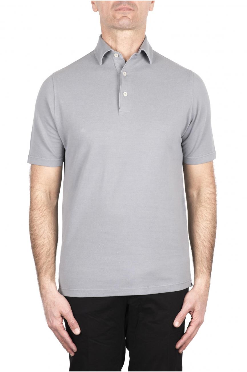 SBU 03277_2021SS Short sleeve pearl grey pique polo shirt  01