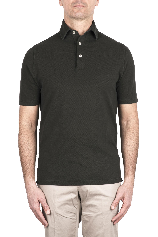 SBU 03278_2021SS Short sleeve green pique polo shirt  01