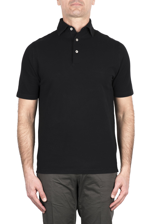 SBU 03279_2021SS Short sleeve black pique polo shirt  01