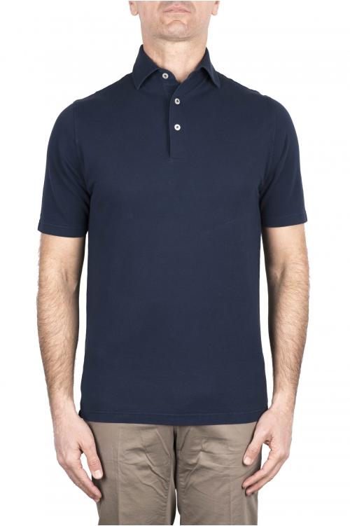 SBU 03281_2021SS Short sleeve indigo blue pique polo shirt  01