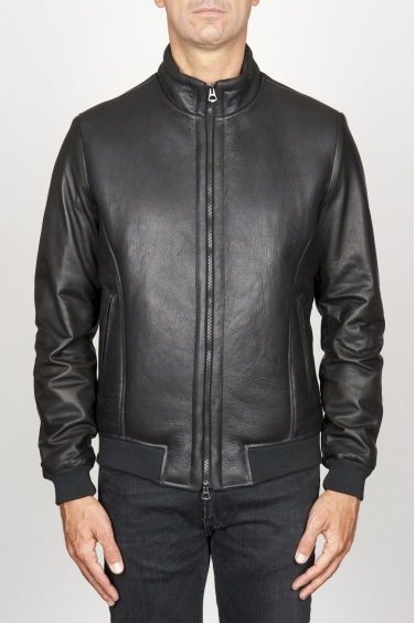 SBU 00906 Classic flight jacket in montone invecchiato nero 01