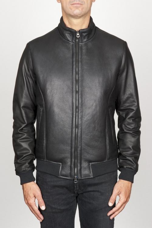 SBU 00906 Classique flight jacket en cuir d'agneau noir 01