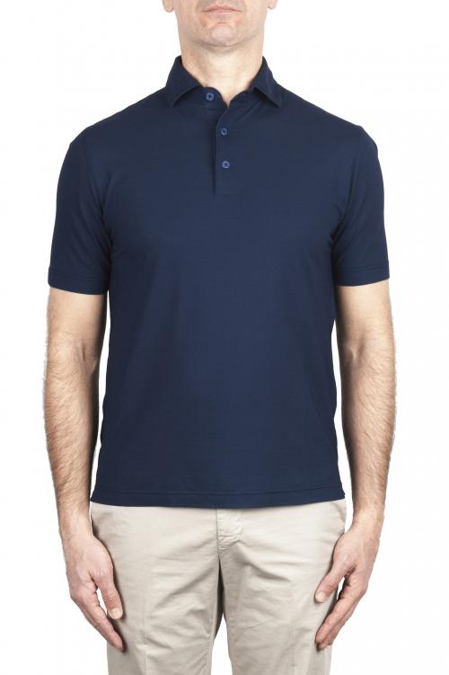 SBU 03286_2021SS Short sleeve blue cotton crepe polo shirt  01
