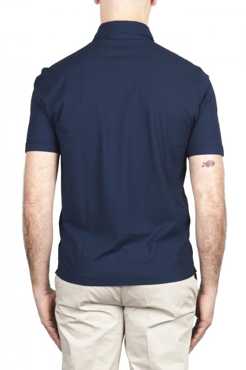 SBU 03286_2021SS Polo de crepé de algodón azul de manga corta 01