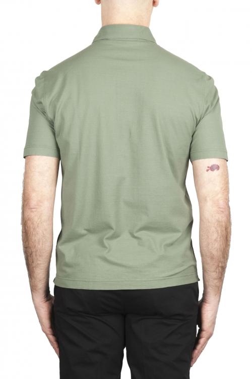 SBU 03287_2021SS Polo de crepé de algodón verde de manga corta 01