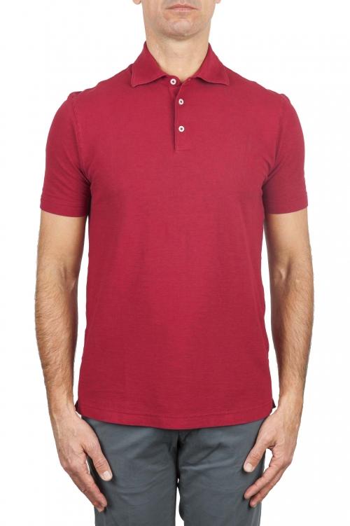 SBU 03288_2021SS Polo classique en crêpe de coton rouge à manches courtes 01