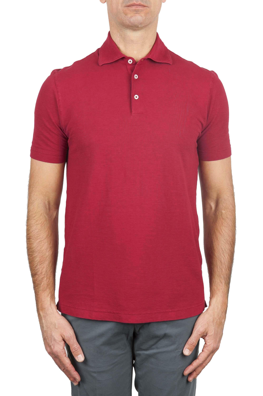 SBU 03288_2021SS Classic short sleeve red cotton crepe polo shirt 01