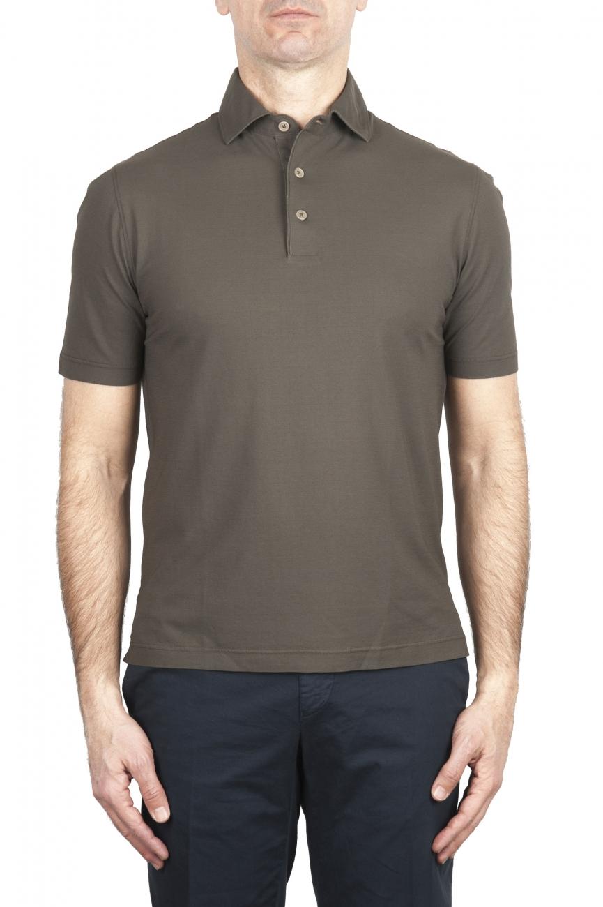 SBU 03289_2021SS Short sleeve green cotton crepe polo shirt  01