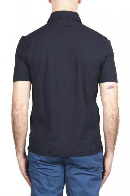 SBU 03290_2021SS Short sleeve navy blue cotton crepe polo shirt  01