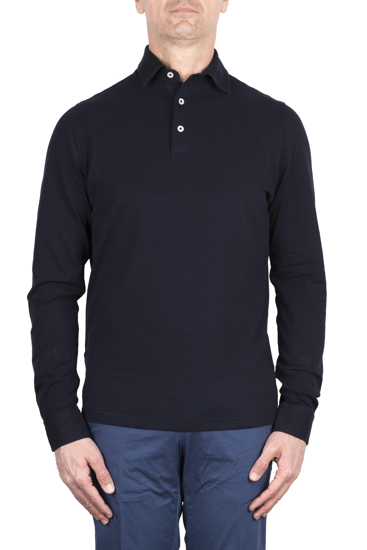 SBU 03292_2021SS Long sleeve navy blue pique polo shirt 01