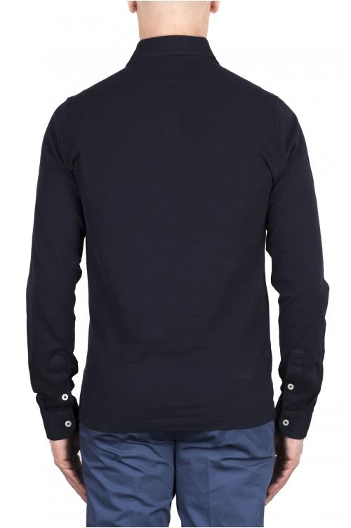 SBU 03292_2021SS Polo in piqué di cotone a maniche lunghe navy blue 01