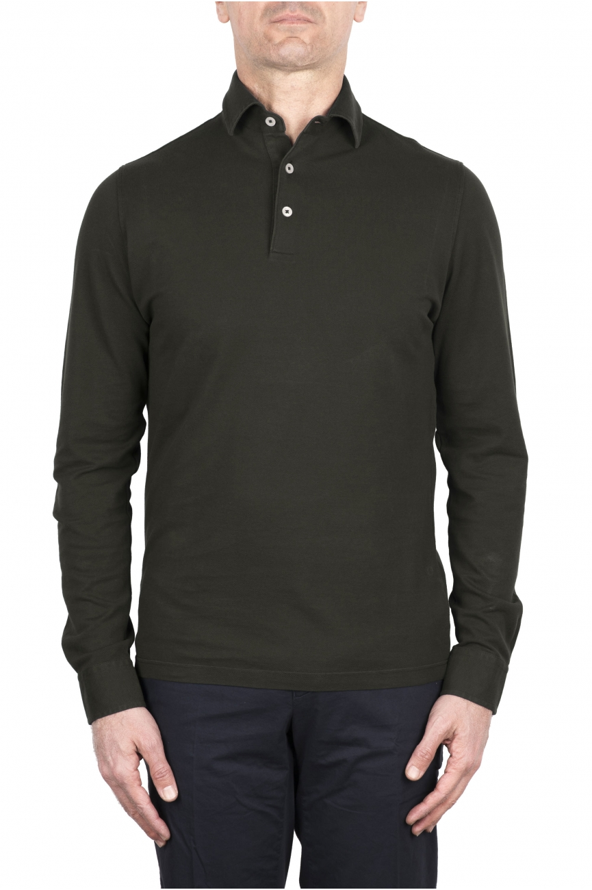 SBU 03293_2021SS Long sleeve green pique polo shirt 01