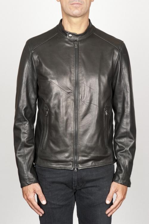 SBU 00907 Classic motorcycle jacket in black calf-skin leather 01