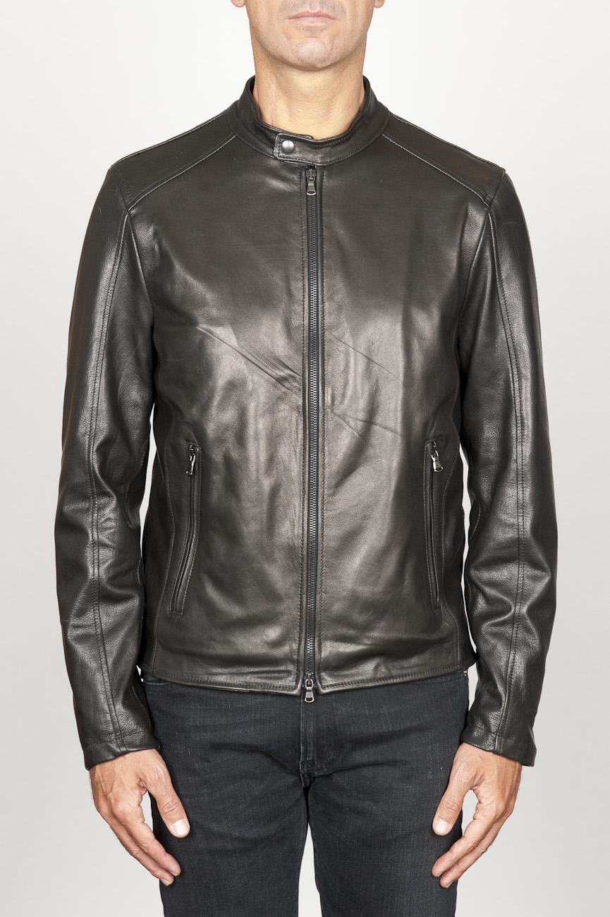 SBU 00907 Classic motorcycle jacket in black calf-skin leather 01