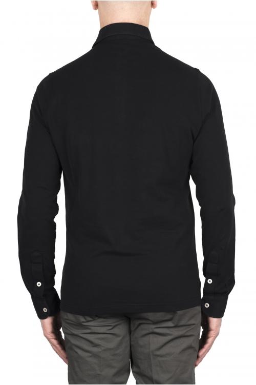 SBU 03294_2021SS Long sleeve black pique polo shirt 01