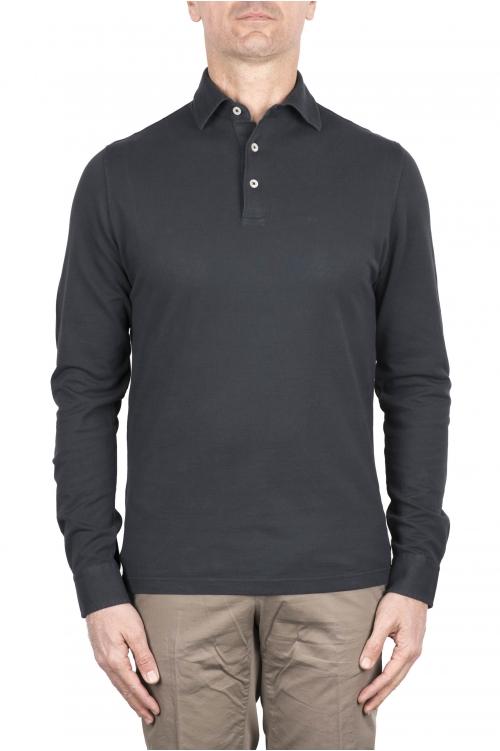 SBU 03295_2021SS 長袖グレーのピケポロシャツ 01