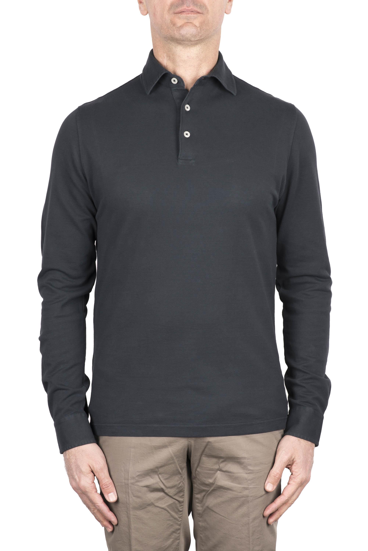 SBU 03295_2021SS Long sleeve grey pique polo shirt 01