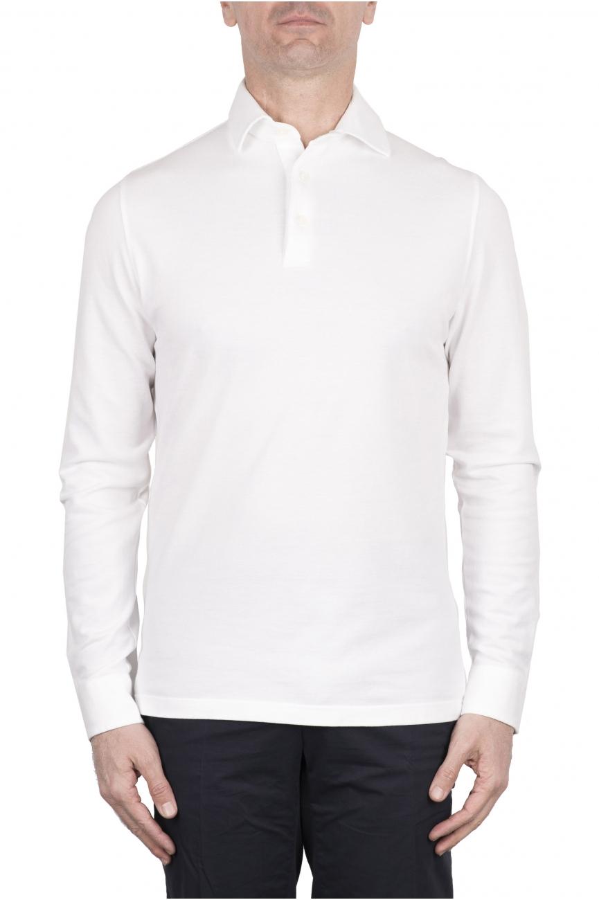SBU 03296_2021SS Long sleeve white pique polo shirt 01