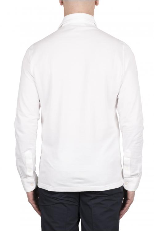 SBU 03296_2021SS 長袖の白いピケポロシャツ 01