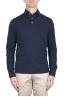 SBU 03297_2021SS Long sleeve indigo blue pique polo shirt 01