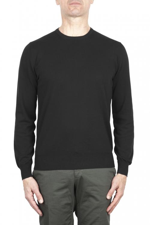 SBU 03298_2021SS ピュアコットンのブラッククルーネックセーター 01