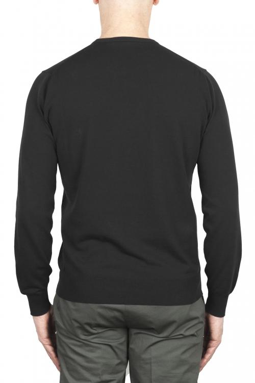 SBU 03298_2021SS Black crew neck sweater in pure cotton 01