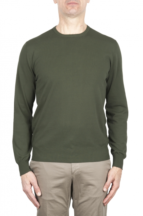 SBU 03299_2021SS Green crew neck sweater in pure cotton 01
