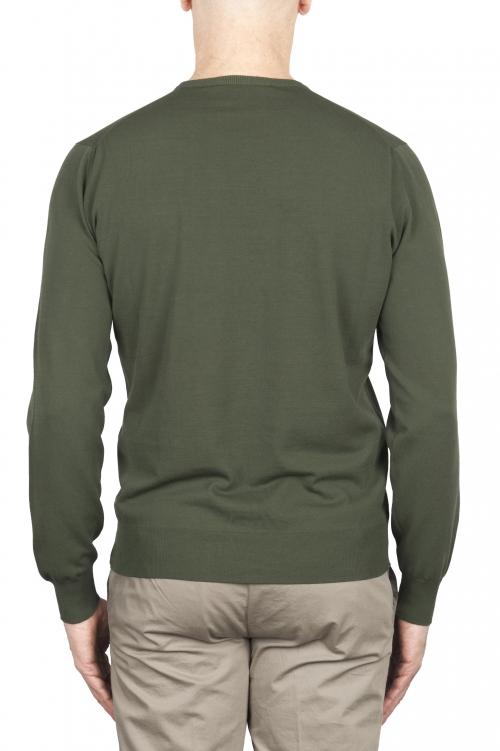 SBU 03299_2021SS Pull col rond vert en pur coton 01