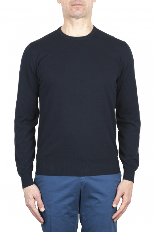 SBU 03300_2021SS Blue crew neck sweater in pure cotton 01