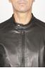 SBU 00907 Giubbino in pelle da motociclista nero 05