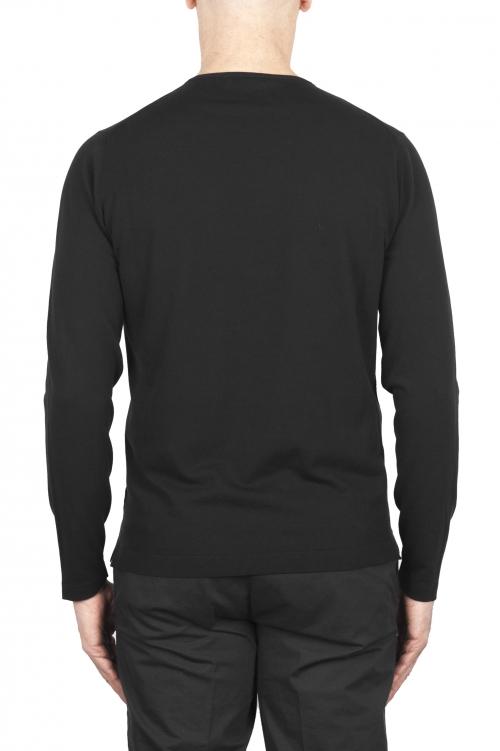 SBU 03301_2021SS Jersey tubular de algodón negro con cuello redondo 01