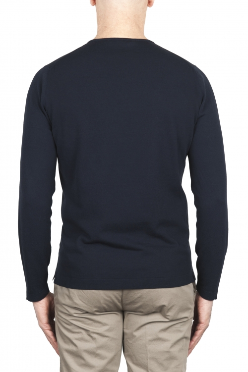 SBU 03303_2021SS Jersey tubular de algodón azul con cuello redondo 06
