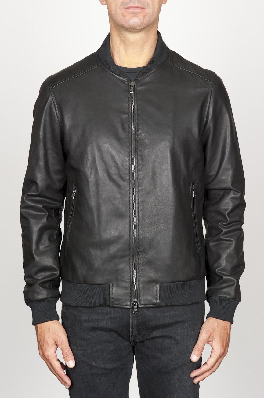 SBU 00908 Classic bomber jacket nera in pelle di vitello  01