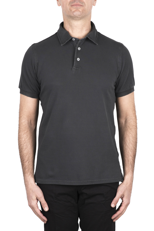 SBU 03283_2021SS Short sleeve lead grey pique polo shirt  01