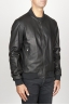 SBU 00908 Classic bomber jacket nera in pelle di vitello  02