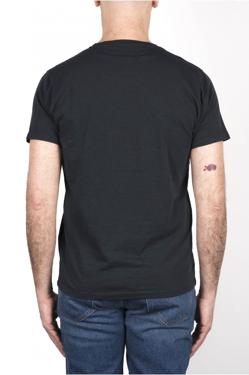 SBU 03304_2021SS Camiseta de algodón flameado con cuello redondo gris pizarra 01