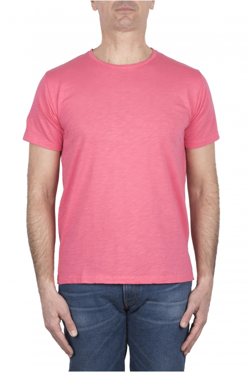 SBU 03305_2021SS Camiseta de algodón flameado con cuello redondo rosa 01