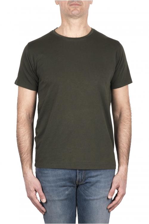 SBU 03306_2021SS Camiseta de algodón flameado con cuello redondo verde 01