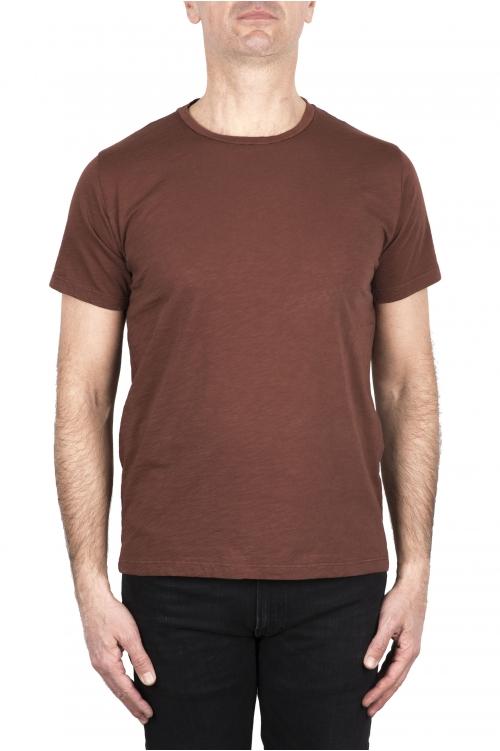 SBU 03307_2021SS T-shirt col rond en coton flammé marron rouille 01