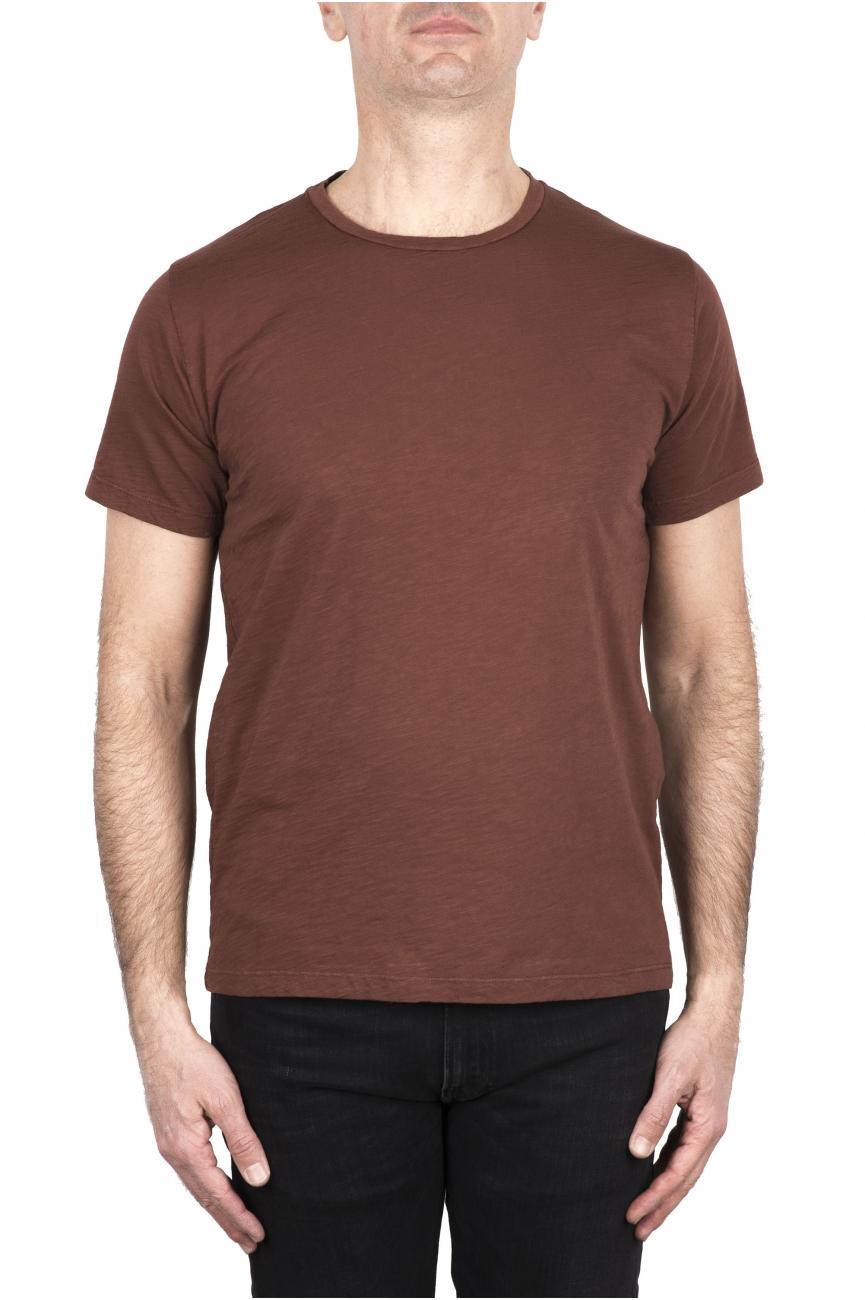 SBU 03307_2021SS Flamed cotton scoop neck t-shirt rust 01