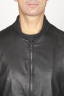 SBU 00908 Classic bomber jacket nera in pelle di vitello 05