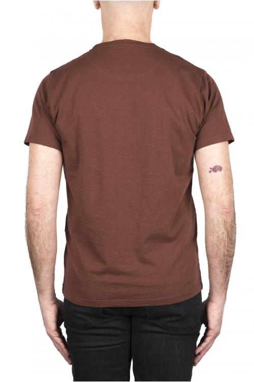 SBU 03307_2021SS Camiseta de algodón flameado con cuello redondo marrón óxido  01